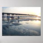 Jacksonville Beach, Florida - Surfer Sunrise Poster