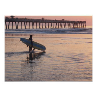 Jacksonville Beach, Florida - Surfing Print