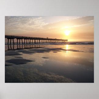 Jacksonville Beach Sunrise - Pier Poster