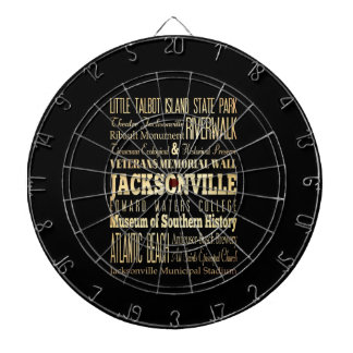 Jacksonville City of Florida State Typography Art Dart Board