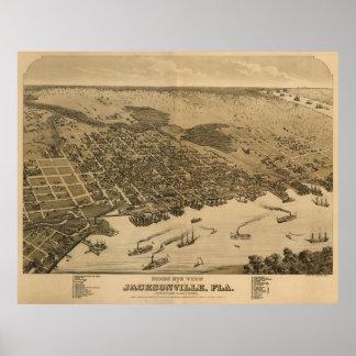 Jacksonville, FL Birdseye Map, Circe 1874 Poster
