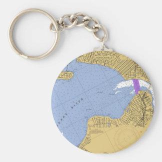 Jacksonville FL Nautical Harbor Chart Keychain