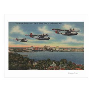 Jacksonville, FL - Navy Bombers over St. John's Postcard