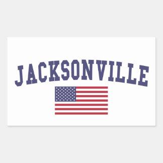 Jacksonville FL US Flag Rectangular Sticker
