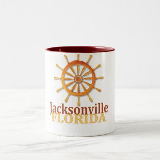Jacksonville Florida captain's wheel coffee mug