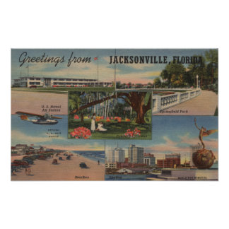 Jacksonville, Florida - Greetings From Poster