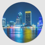 Jacksonville Florida Skyline along river Classic Round Sticker