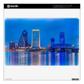 Jacksonville Florida Skyline at Twilight Skins For MacBook Air