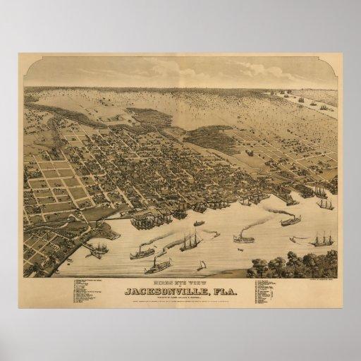 Jacksonville, mapa de FL Birdseye, Circe 1874 Póster