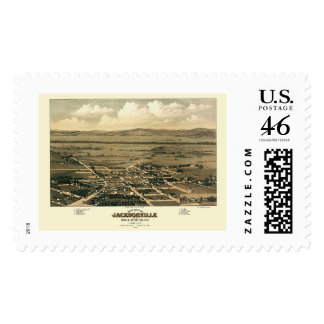 Jacksonville OR Panoramic Map - 1883 Postage Stamps