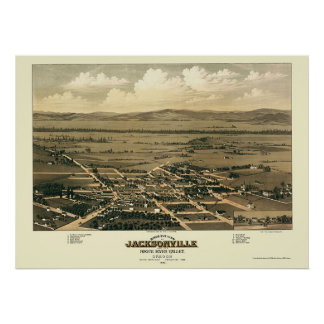 Jacksonville, OR Panoramic Map - 1883 Print