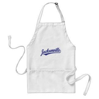 Jacksonville script logo in blue adult apron