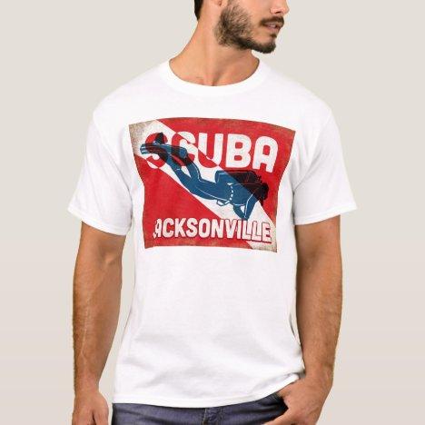 Jacksonville Scuba Diver - Blue Retro T-Shirt