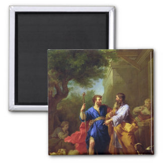Jacob and Laban, before 1737 2 Inch Square Magnet