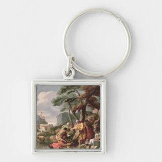 Jacob burying the strange gods under the oak Silver-Colored square keychain