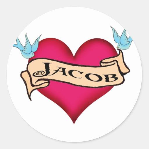 Jacob - camisetas y regalos de encargo del tatuaje pegatina redonda