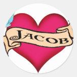 Jacob - camisetas y regalos de encargo del tatuaje etiqueta redonda