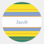 Jacob Classic Stripes Round Stickers