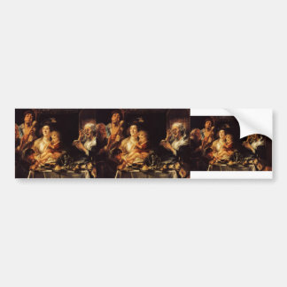 Jacob Jordaens- As the Old Sang So the young Pipe Bumper Sticker