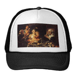 Jacob Jordaens- As the Old Sang, So the young Pipe Trucker Hats