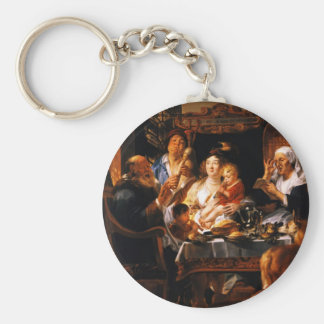 Jacob Jordaens- As the Old Sang So the young Pipe Keychain