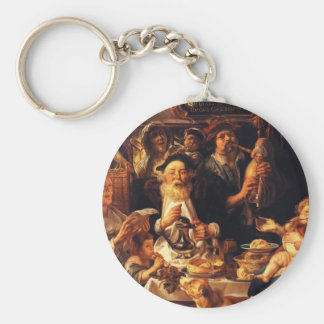 Jacob Jordaens- As the Old Sang So the young Pipe Key Chains