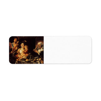 Jacob Jordaens- As the Old Sang, So the young Pipe Return Address Label