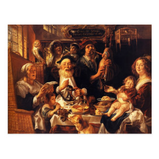 Jacob Jordaens- As the Old Sang, So the young Pipe Postcard