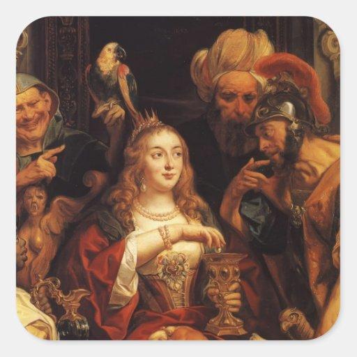 Jacob Jordaens- el banquete de Cleopatra Calcomanía Cuadrada Personalizada