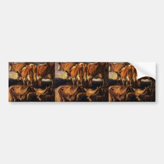 Jacob Jordaens- Five studies of cows Bumper Sticker