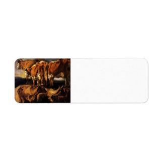 Jacob Jordaens- Five studies of cows Return Address Label