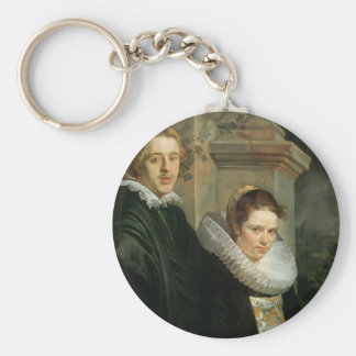 Jacob Jordaens- Portrait of a Young Married Couple Key Chain