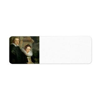 Jacob Jordaens- Portrait of a Young Married Couple Return Address Label