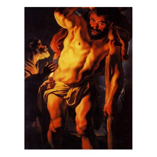 Jacob Jordaens- Saint Christopher carrying Child Postcard