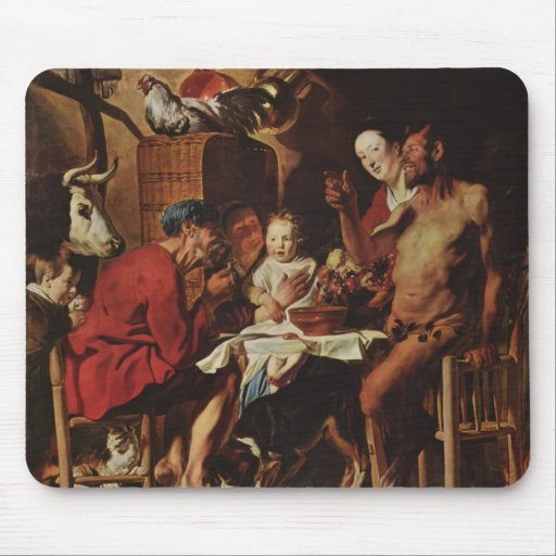 Jacob Jordaens- Satyr and Peasant Mouse Pad