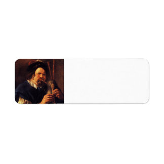 Jacob Jordaens- Self-Portrait as a Bagpipe Player Return Address Label