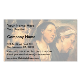 Jacob Jordaens-Two female heads & torso of warrior Business Cards