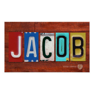 JACOB License Plate Lettering Name Sign Poster