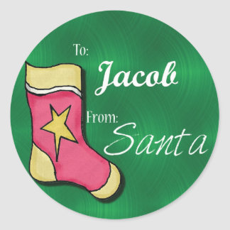 Jacob Personalized Christmas Label62 Classic Round Sticker