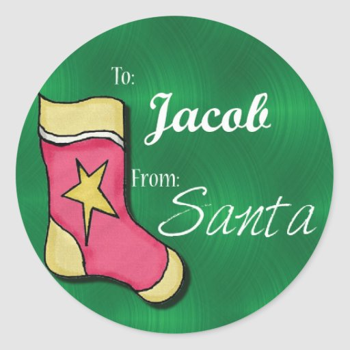 Jacob Personalized Christmas Label62 Round Stickers