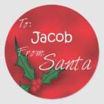 Jacob Personalized Holly Label62 Sticker