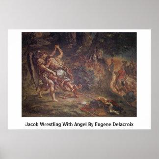 Jacob que lucha con ángel de Eugene Delacroix Póster