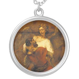 Jacob que lucha con el ángel de Rembrandt Colgante Redondo