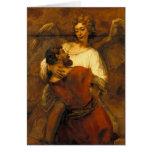 Jacob que lucha con el ángel de Rembrandt Felicitación