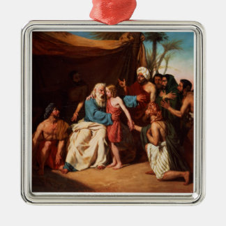 Jacob que rechaza lanzar a Benjamin, 1829 (aceite Adorno Cuadrado Plateado