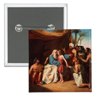 Jacob refusing to release Benjamin, 1829 (oil on c 2 Inch Square Button