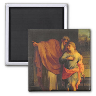Jacob Sending his Son, Joseph 2 Inch Square Magnet