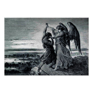 Jacob Wrestles with the Angel (Gen. 32:24-32) Poster