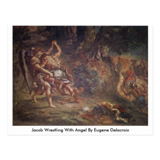 Jacob Wrestling With Angel By Eugene Delacroix Post Cards