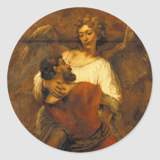 Jacob Wrestling with the Angel by Rembrandt Classic Round Sticker